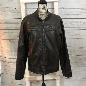 Sonoma Mens Faux Leather Bomber Style Jacket